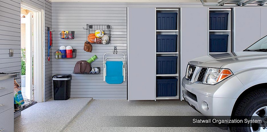 Garage Slatwall Organizers with Garage Cabinets