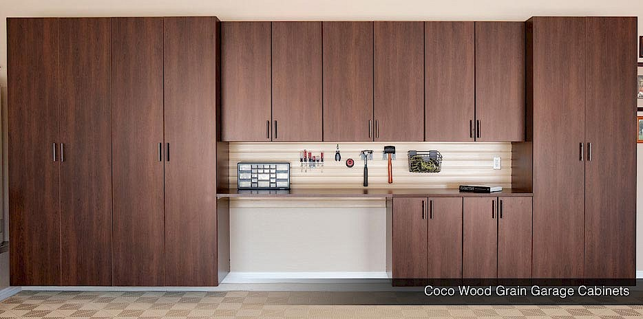 Coco Wood Grain Garage Cabinets