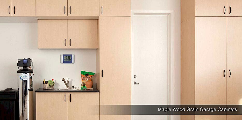 Wood Grain Garage Cabinets