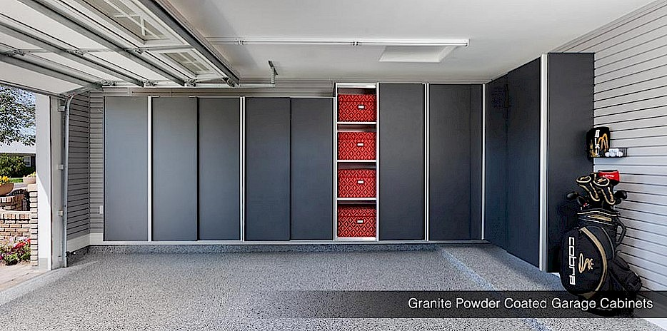 Powder Coated Granite Garage Cabinets with Slatwall Organizers