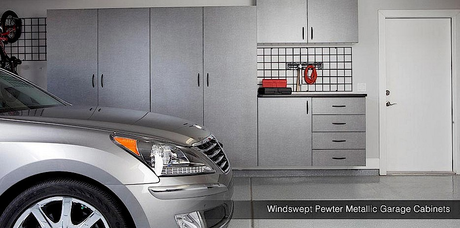 Metallic Pewter Garage Cabinets with Gridwall Organizers