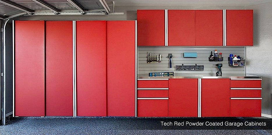 Powder Coated Red Garage Cabinets with Stainless Steel Workbench