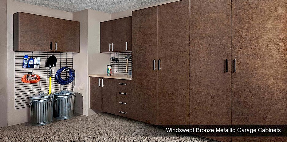 Metallic Bronze Garage Cabinets with Gridwall Organizers