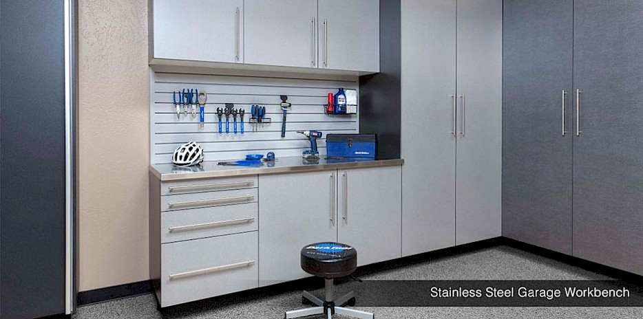 Garage Workbench with Stainless Steel Counter Top