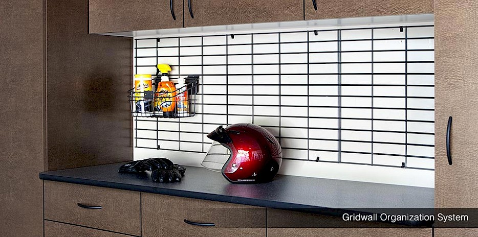 Gridwall Garage Organizers with Bronze Cabinets