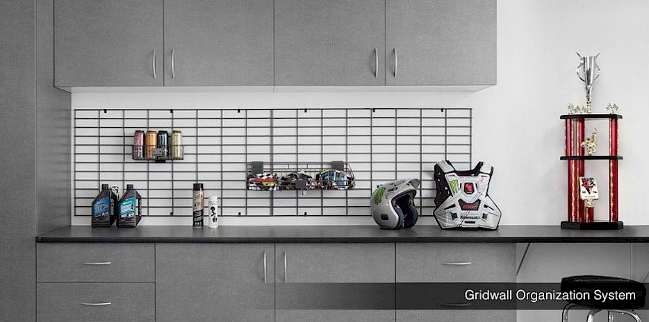 Gridwall Garage Organizers with Pewter Cabinets