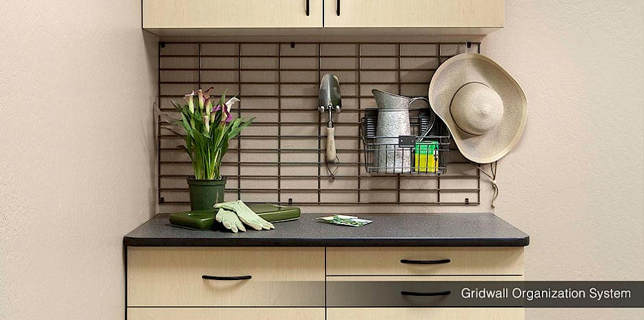 Gridwall Garage Organizers with Ebony Star Workbench