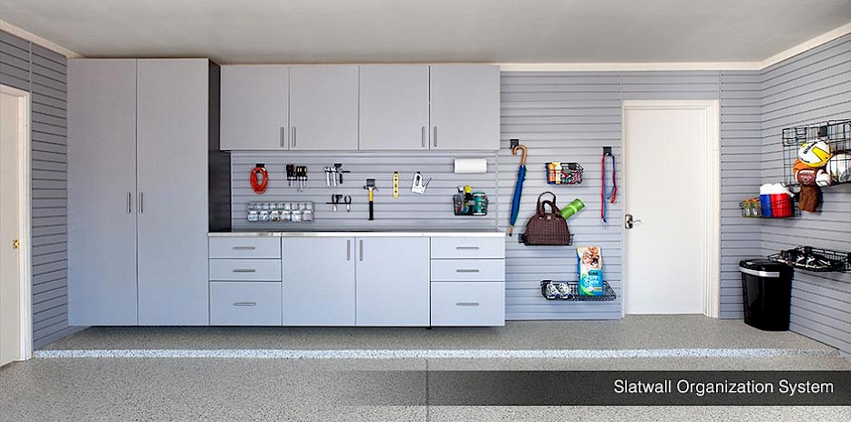 Slatwall Garage Organization System with Cabinets System