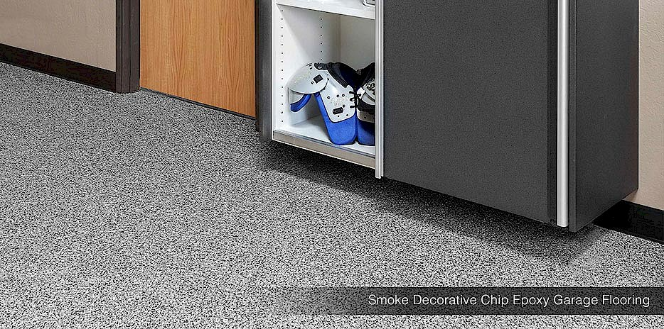 decorative chip epoxy garage flooring smoke